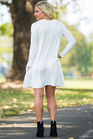 Piko Long Sleeve Swing Dress - Off White