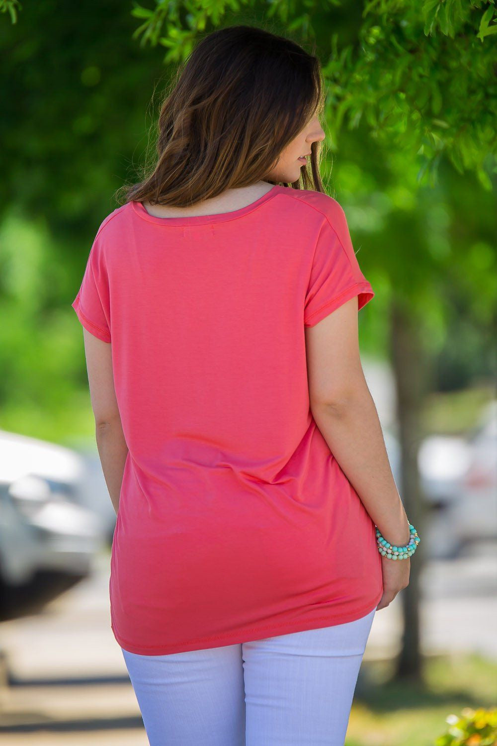 Short Sleeve Rolled Sleeve V-Neck Piko Top - Coral - Piko Clothing - 2