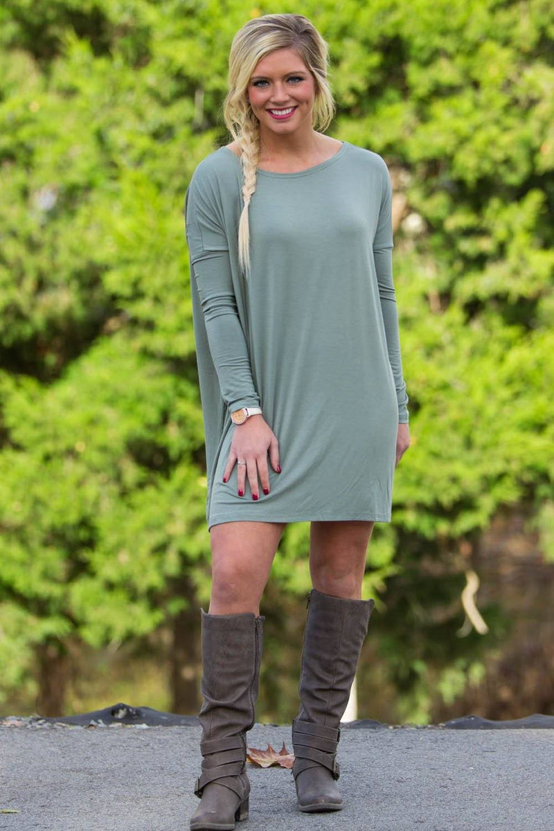 Long Sleeve Piko Tunic - Olive - Piko Clothing