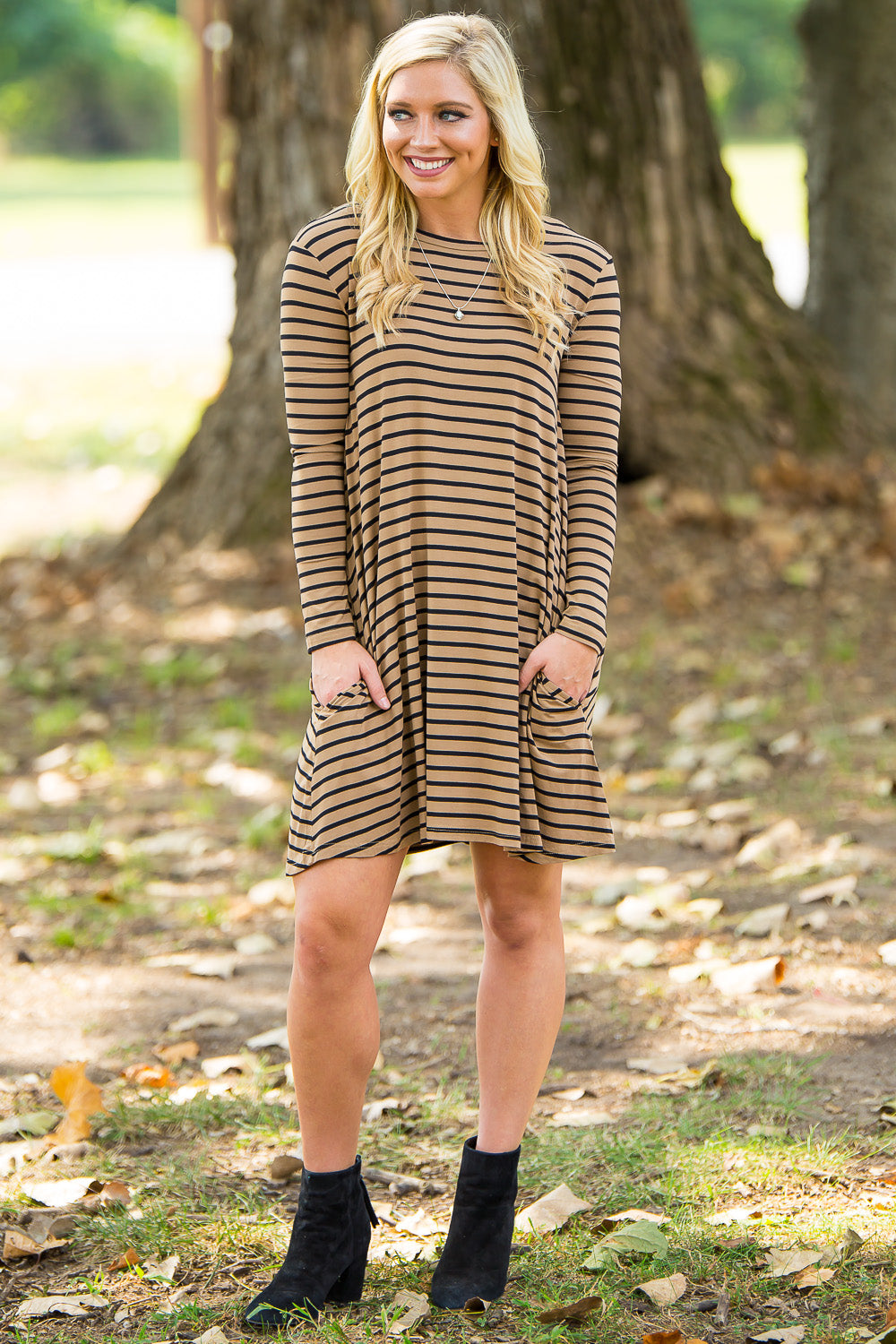 Piko Long Sleeve Tiny Stripe Swing Dress - Camel/Black