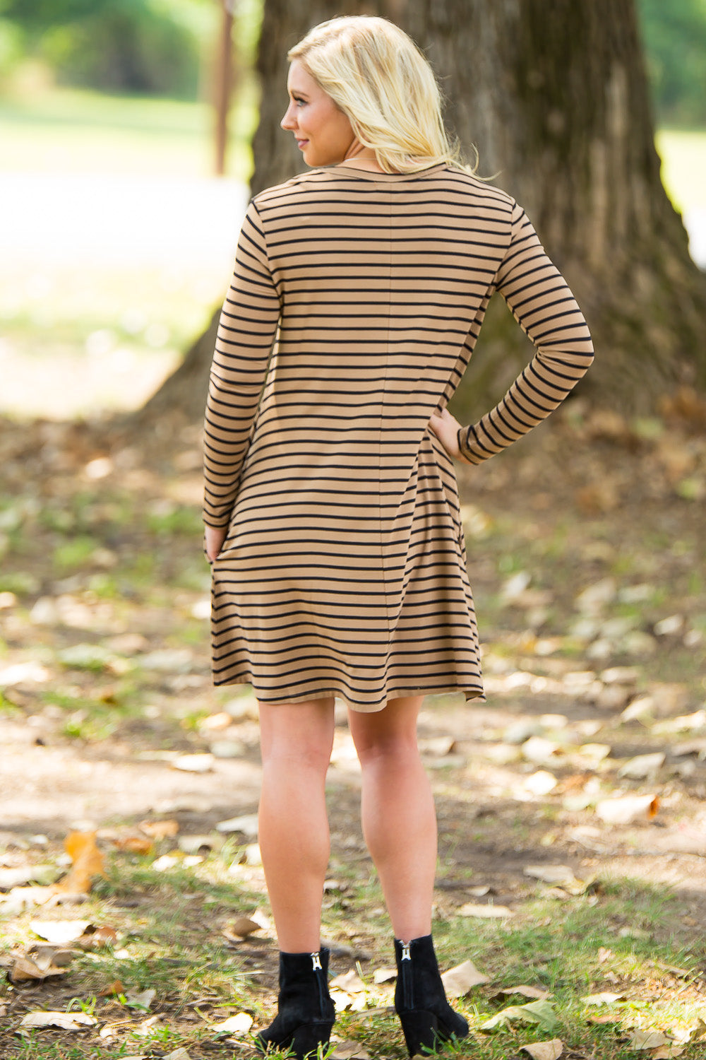Piko Long Sleeve Tiny Stripe Swing Dress - Camel/Black - Piko Clothing