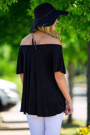 Off The Shoulder Short Sleeve Piko Top - Black - Piko Clothing