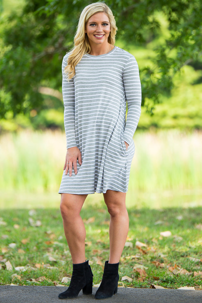 Piko Long Sleeve Tiny Stripe Swing Dress - Heather/White