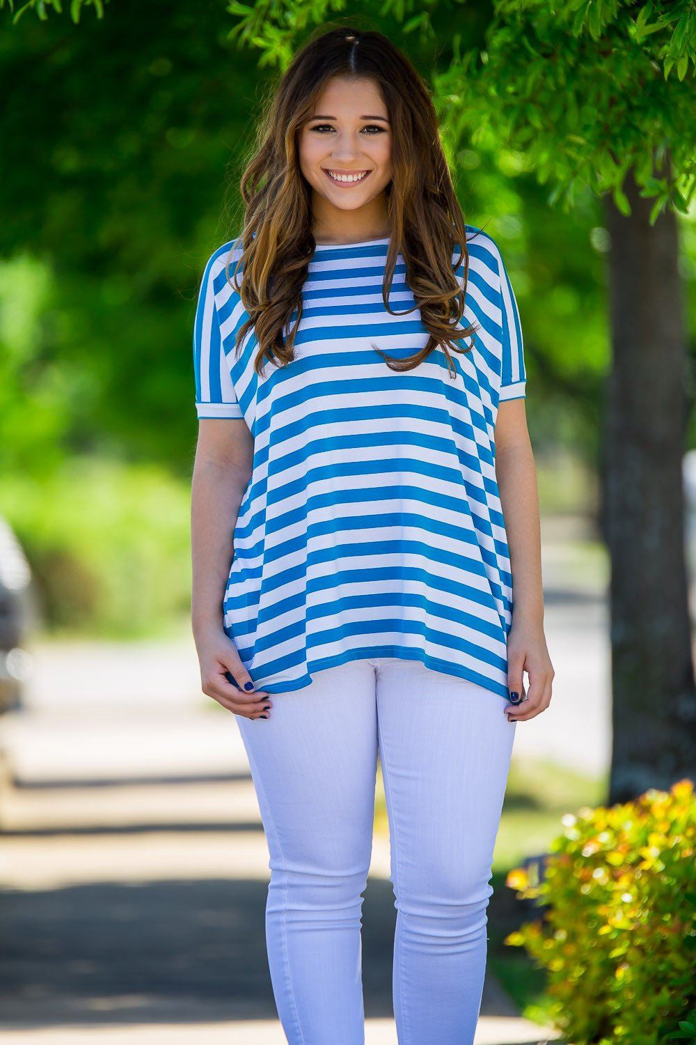 Short Sleeve Thick Stripe Piko Top - Blue/White - Piko Clothing - 1