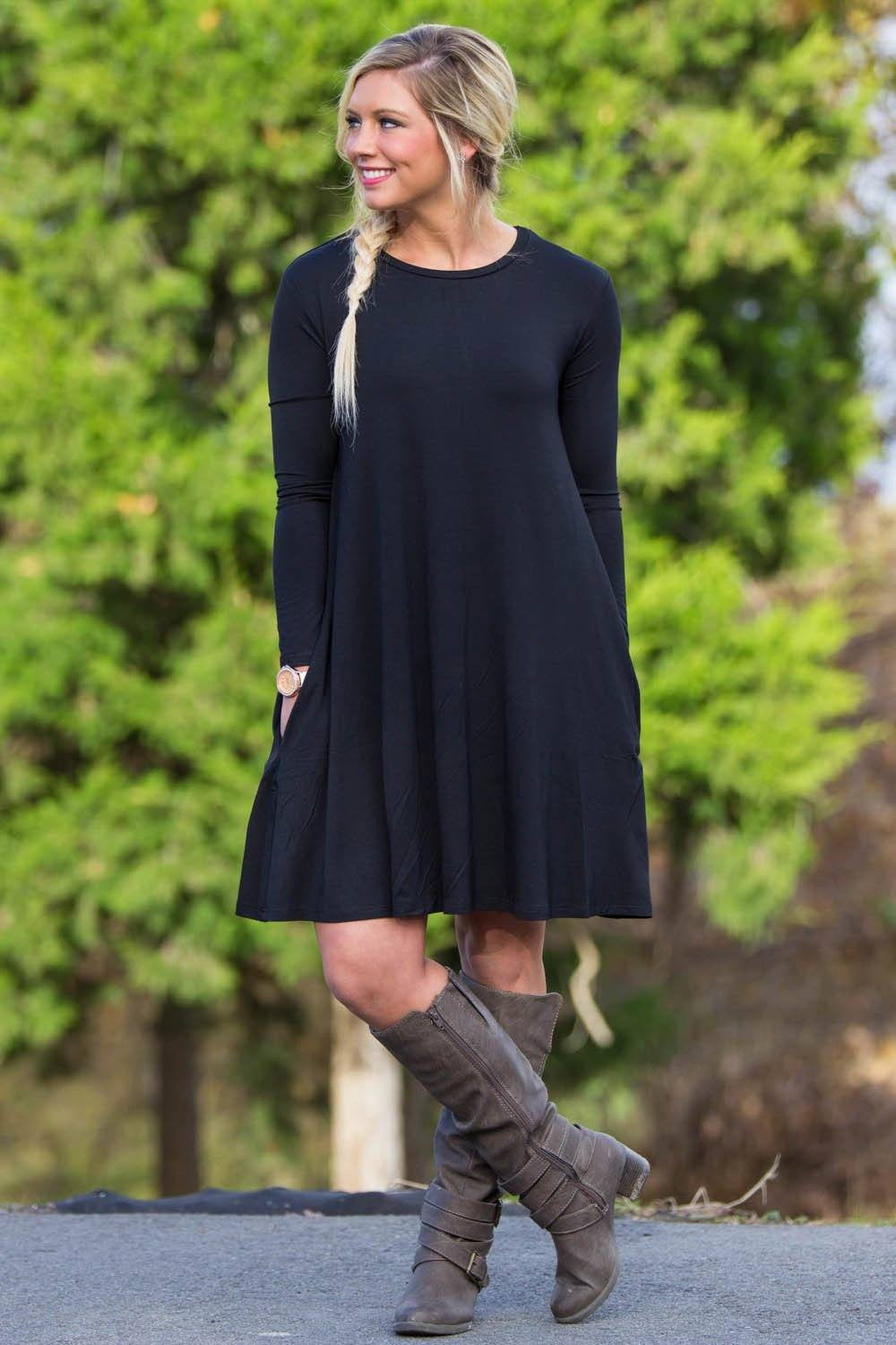 Piko Long Sleeve Swing Dress Black Piko Clothing