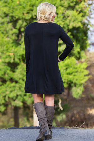 Piko Long Sleeve Swing Dress - Black - Piko Clothing - 4