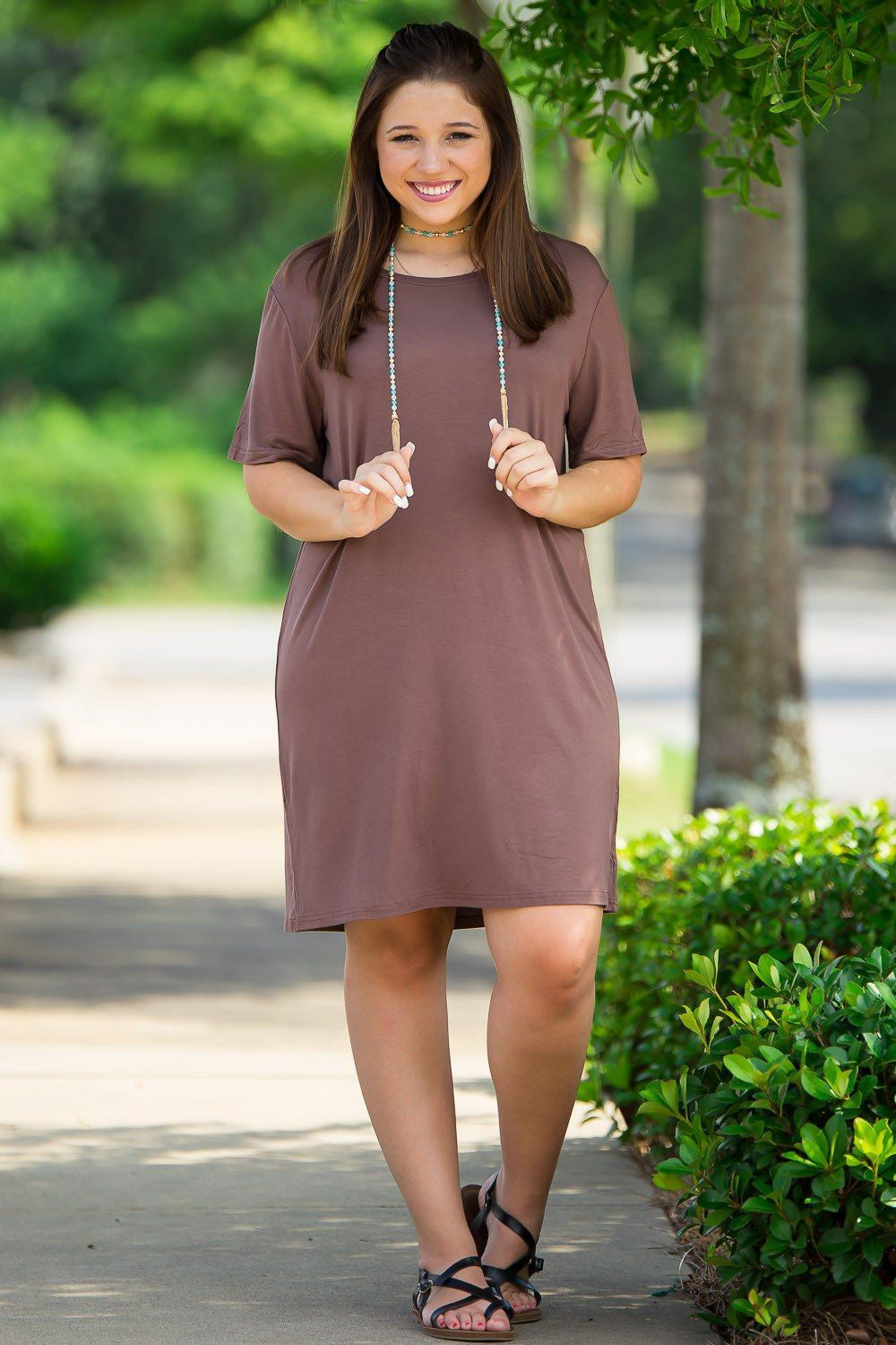 Short Sleeve Piko Dress - Brown - Piko Clothing - 1