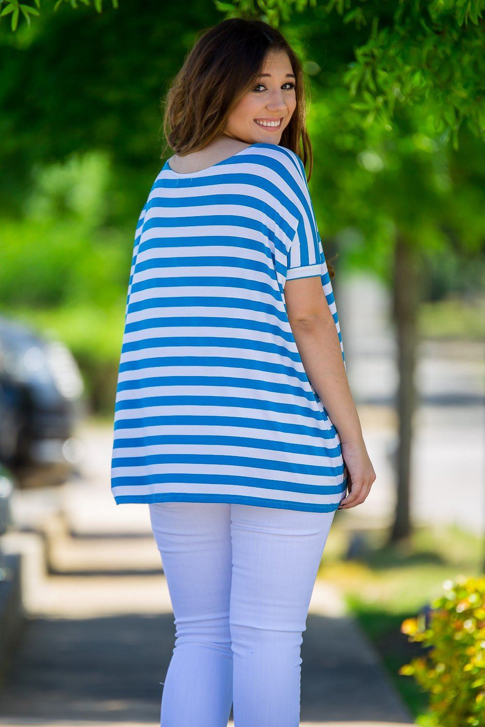 Short Sleeve Thick Stripe Piko Top - Blue/White - Piko Clothing - 2