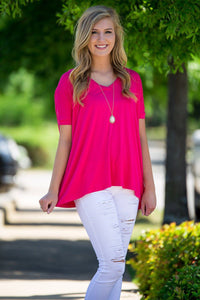 Short Sleeve V-Neck Piko Top - Fuchsia - Piko Clothing - 1