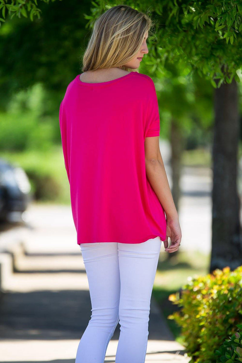 Short Sleeve V-Neck Piko Top - Fuchsia - Piko Clothing - 2