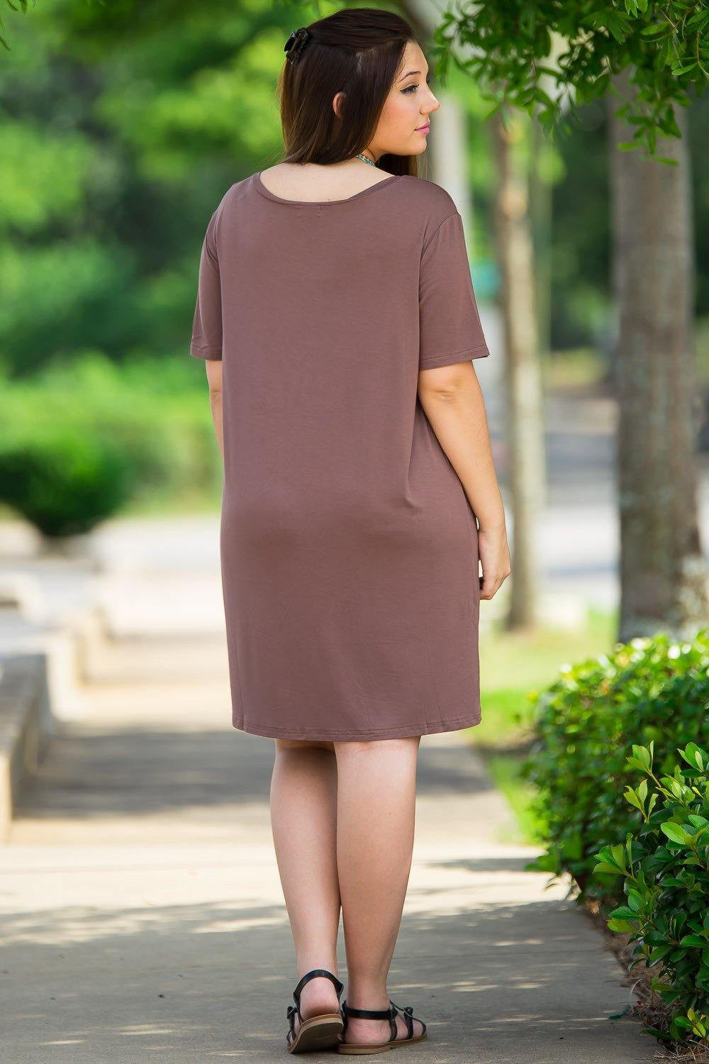 Short Sleeve Piko Dress - Brown - Piko Clothing - 2