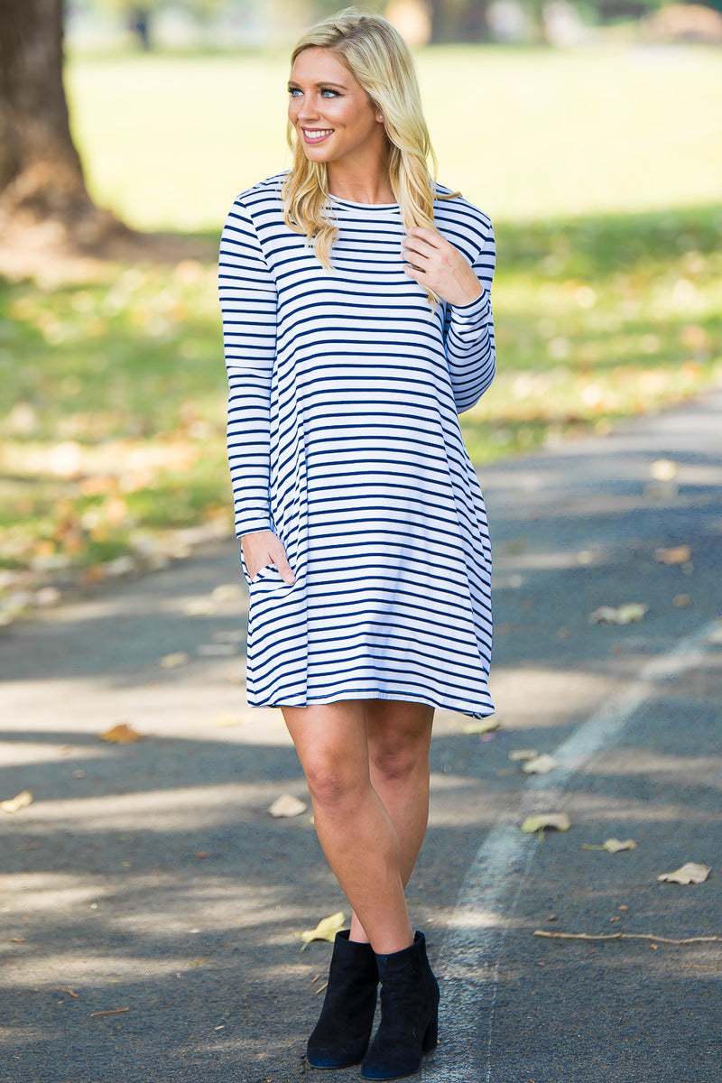 Piko Long Sleeve Tiny Stripe Swing Dress - White/Royal - Piko Clothing