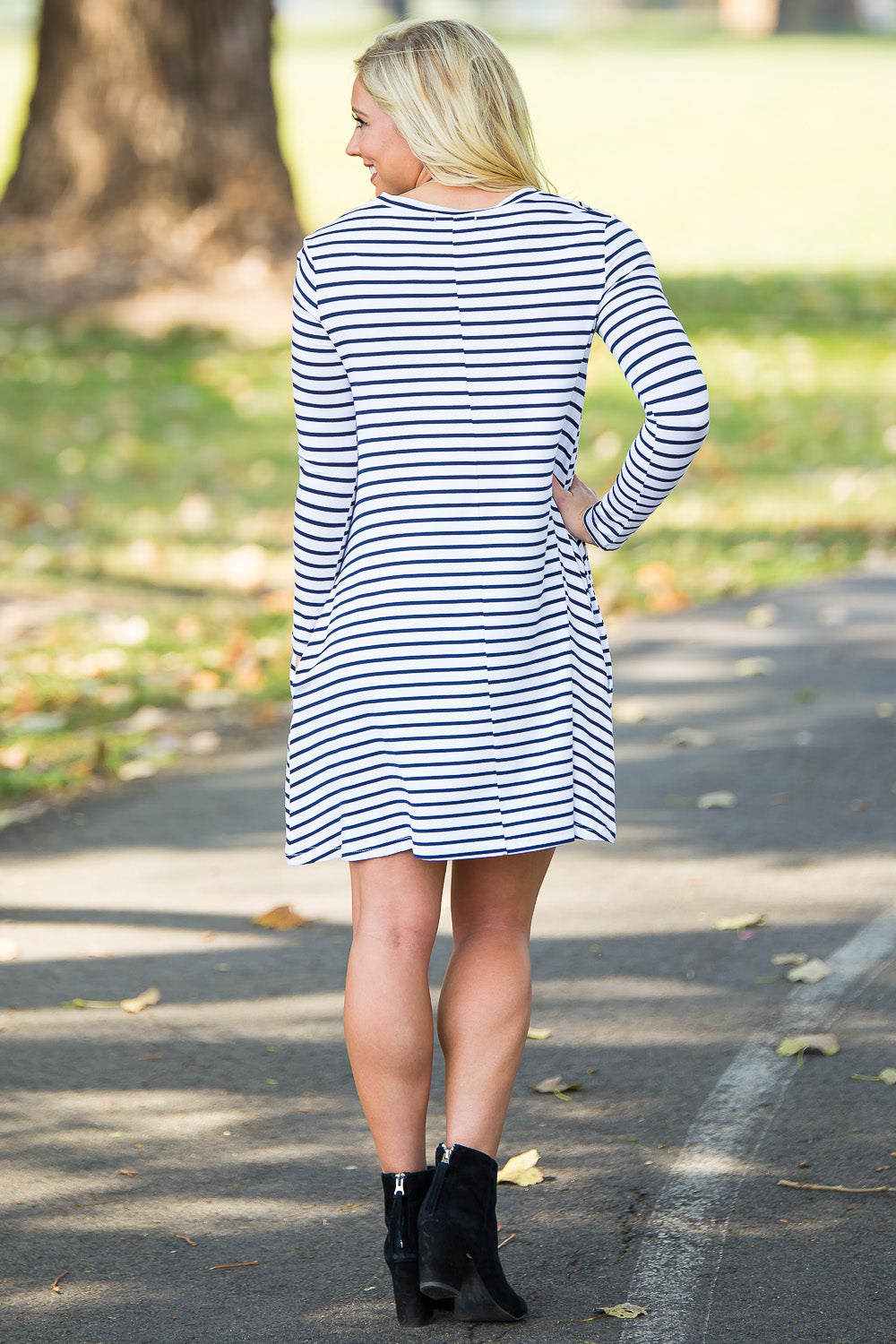 Piko Long Sleeve Tiny Stripe Swing Dress - White/Navy - Piko Clothing