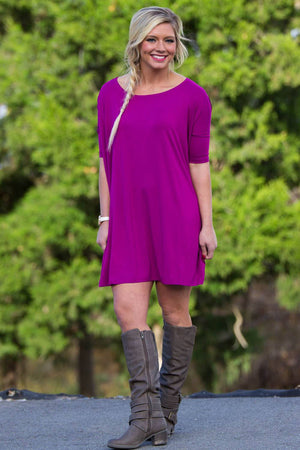 Half Sleeve Piko Tunic - Bright Fuchsia - Piko Clothing