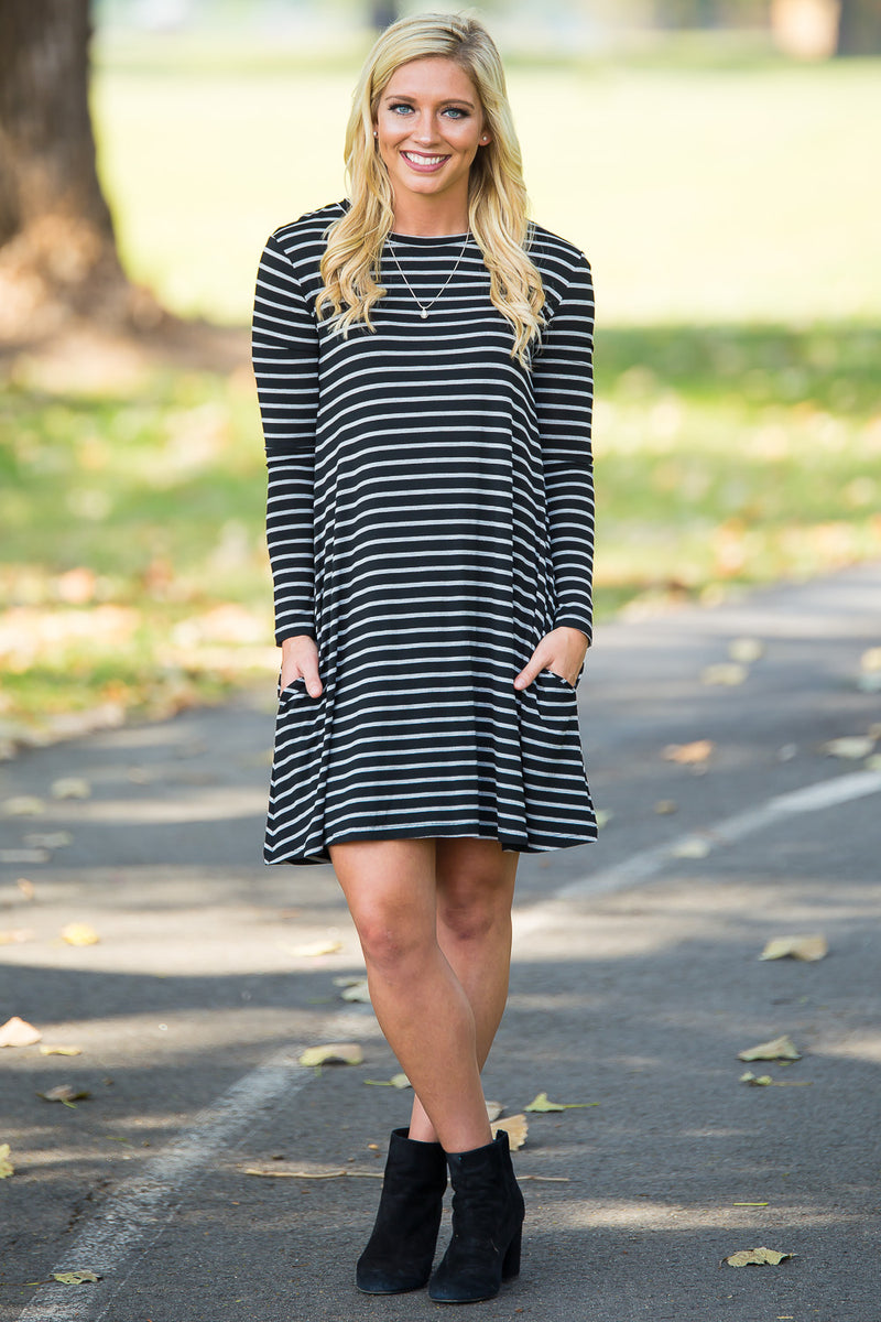 Piko Long Sleeve Tiny Stripe Swing Dress - Black/Heather - Piko Clothing