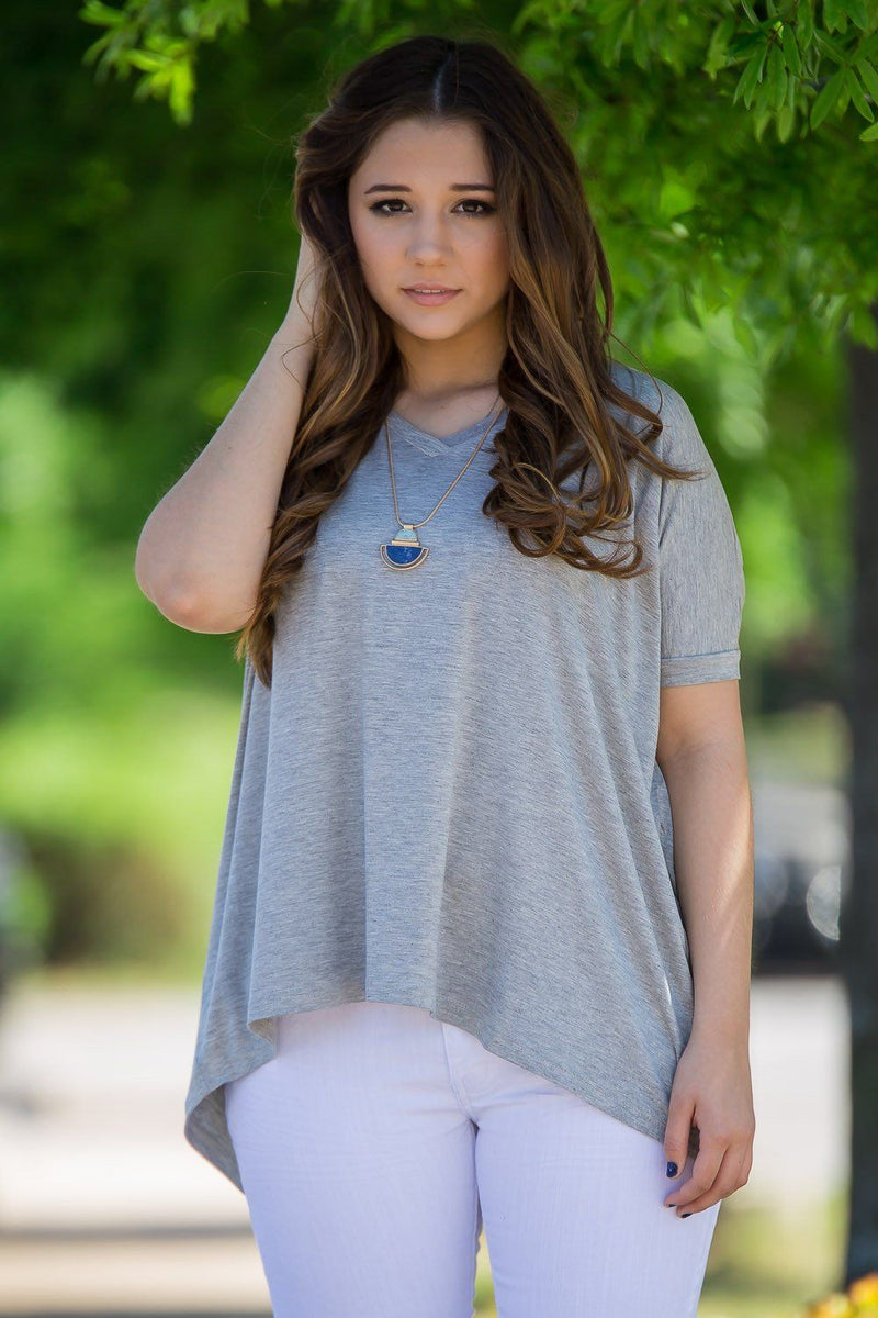 Short Sleeve V-Neck Piko Top - Heather Grey - Piko Clothing