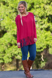 Long Sleeve Fringe Piko Top - Wine - Piko Clothing