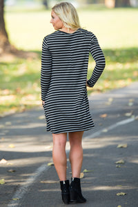 Piko Long Sleeve Tiny Stripe Swing Dress - Black/Heather