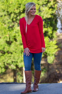 Long Sleeve Slim Fit V-Neck Piko Top - Red - Piko Clothing