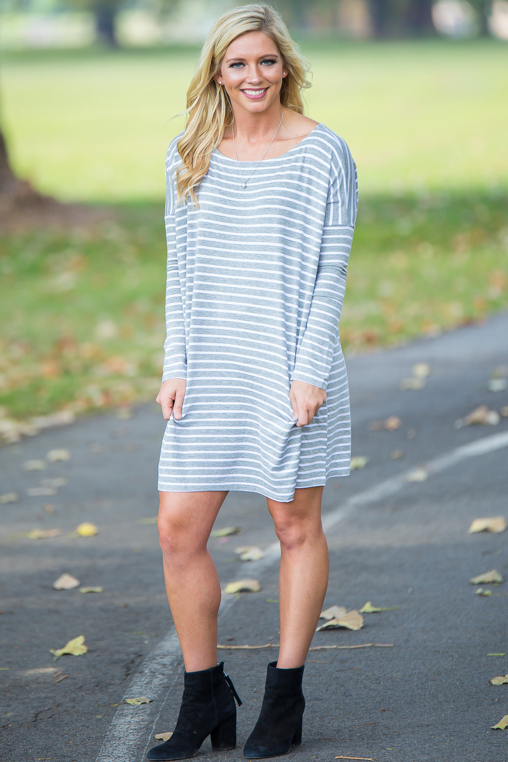 Long Sleeve Tiny Stripe Piko Tunic - Heather/White - Piko Clothing