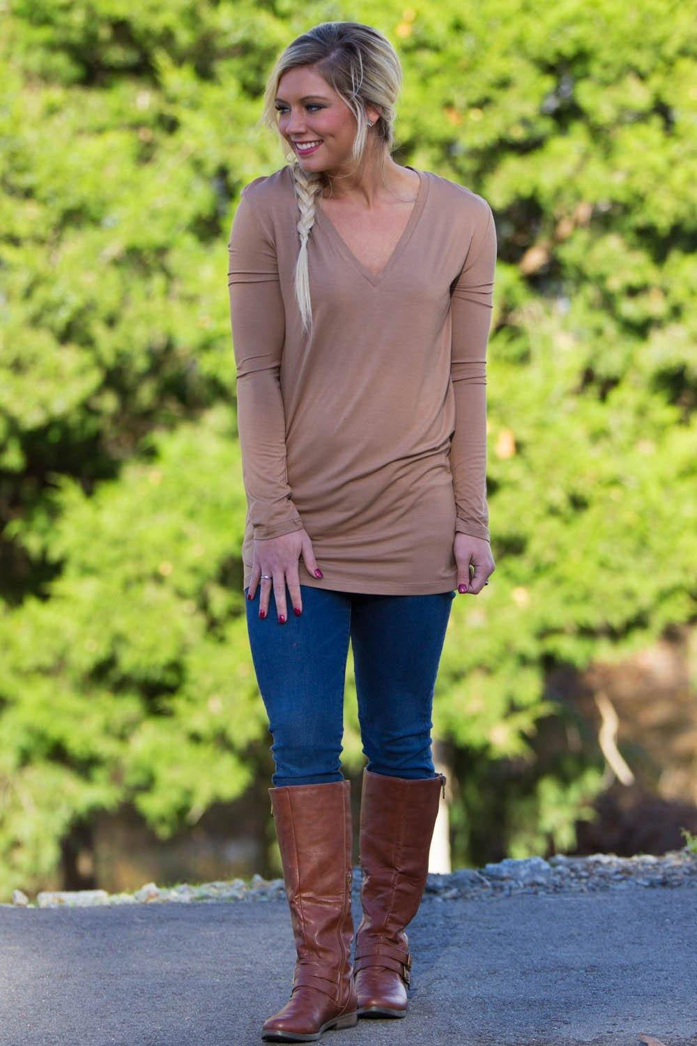 Long Sleeve Slim Fit V-Neck Piko Top - Mocha - Piko Clothing