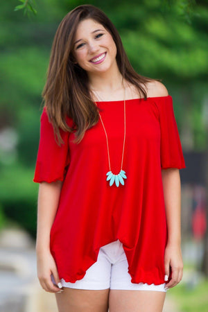 Off The Shoulder Short Sleeve Piko Top - Red - Piko Clothing