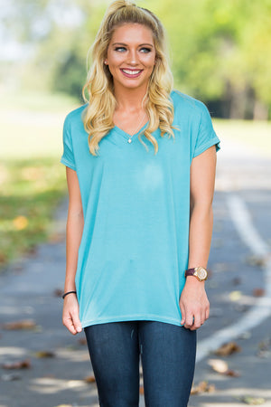Short Sleeve Rolled Sleeve V-Neck Piko Top - Light Teal