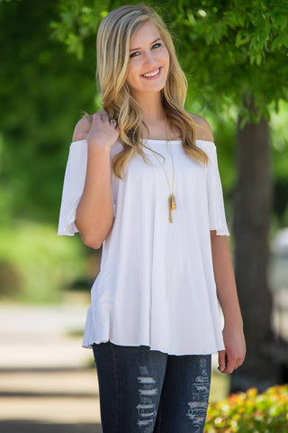 Off The Shoulder Short Sleeve Piko Top - Off White - Piko Clothing