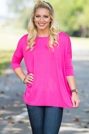 3/4 Sleeve Piko Top - Fuchsia - Piko Clothing