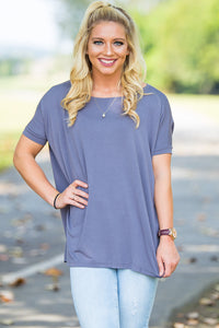 Short Sleeve Piko Top - Charcoal