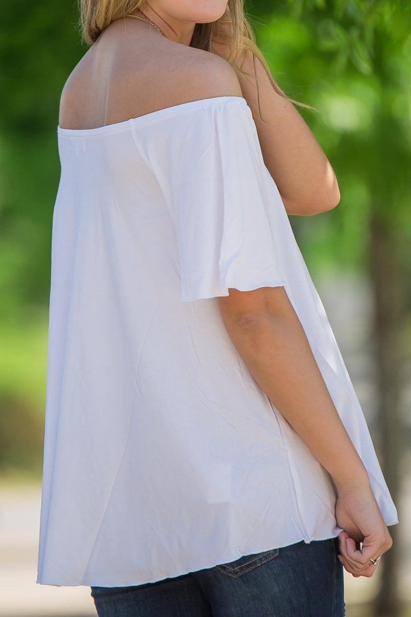 Off The Shoulder Short Sleeve Piko Top - Off White - Piko Clothing - 2