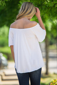 Off The Shoulder Short Sleeve Piko Top - Off White - Piko Clothing - 3