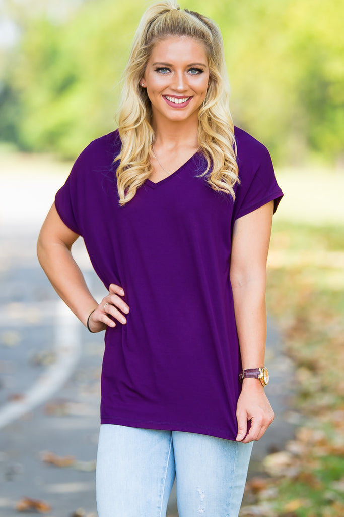 Short Sleeve Rolled Sleeve V-Neck Piko Top - Dark Purple