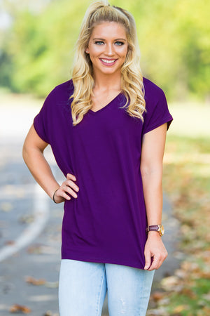 Short Sleeve Rolled Sleeve V-Neck Piko Top - Dark Purple - Piko Clothing