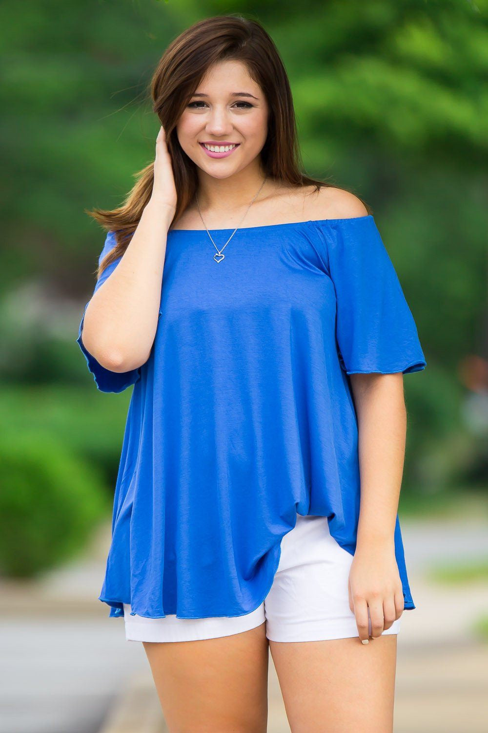 Off The Shoulder Short Sleeve Piko Top - Royal - Piko Clothing