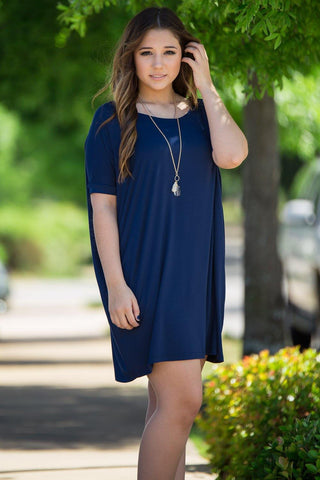 Short Sleeve Piko Tunic - Navy - Piko Clothing - 1