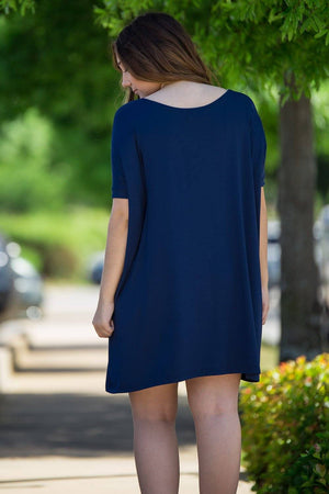 Short Sleeve Piko Tunic - Navy - Piko Clothing - 2