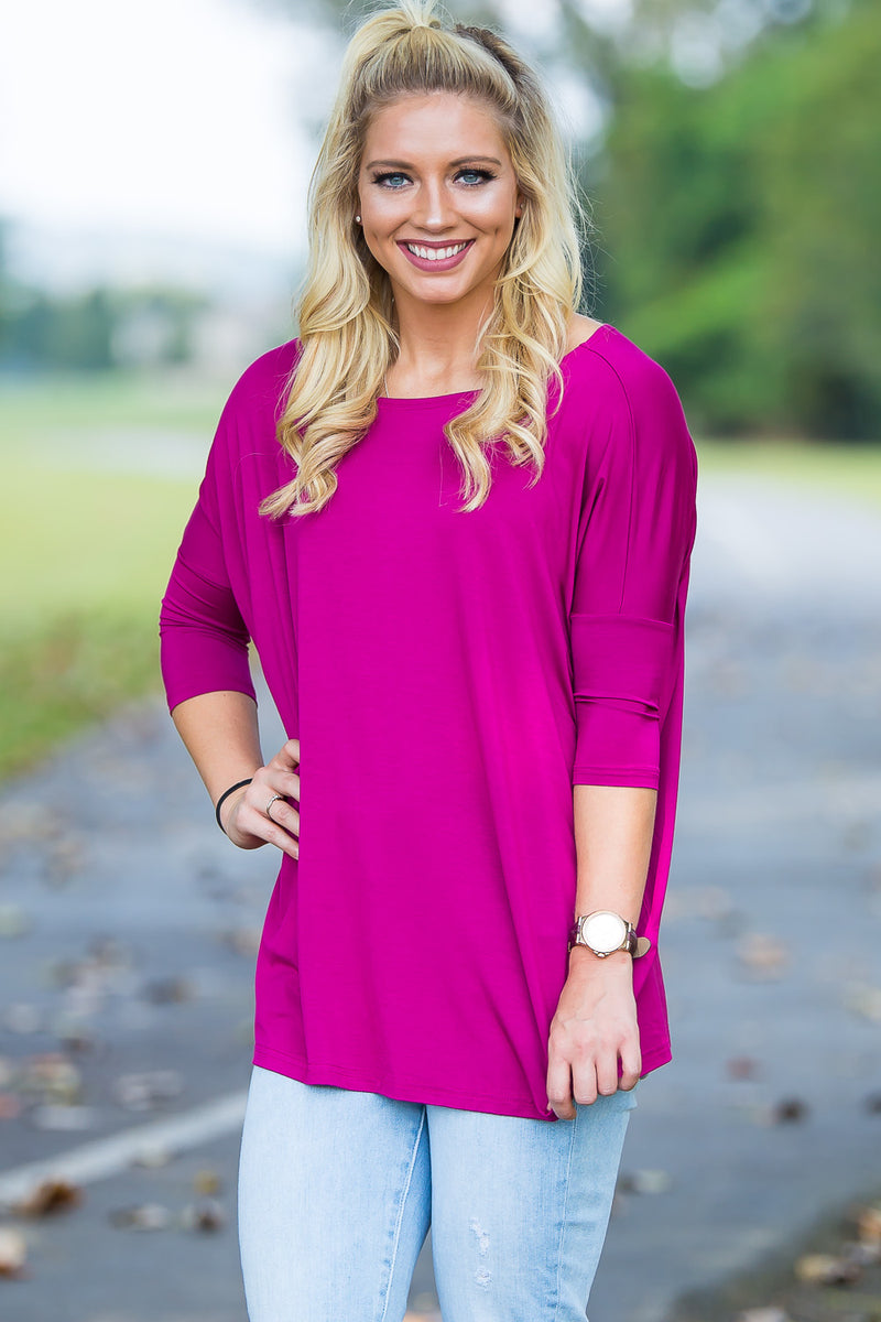 3/4 Sleeve Piko Top - Bright Fuchsia - Piko Clothing