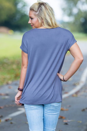 Short Sleeve Rolled Sleeve V-Neck Piko Top - Charcoal