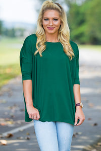 3/4 Sleeve Piko Top - Forest Green - Piko Clothing