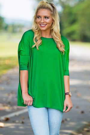 3/4 Sleeve Piko Top - Kelly Green - Piko Clothing
