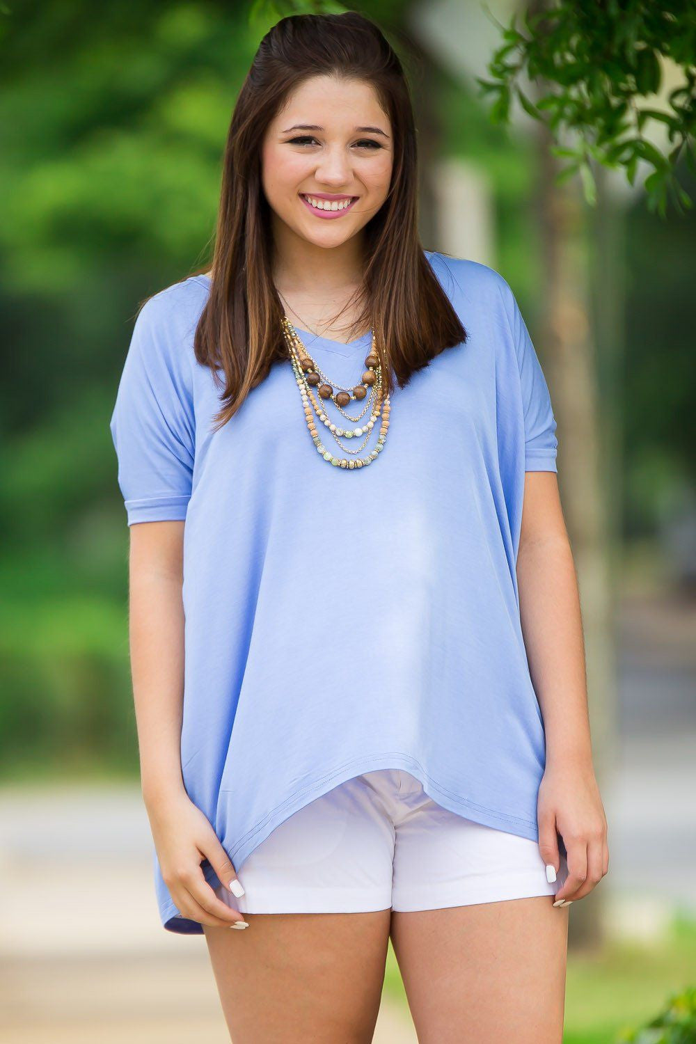 Short Sleeve V-Neck Piko Top - Serenity - Piko Clothing - 1