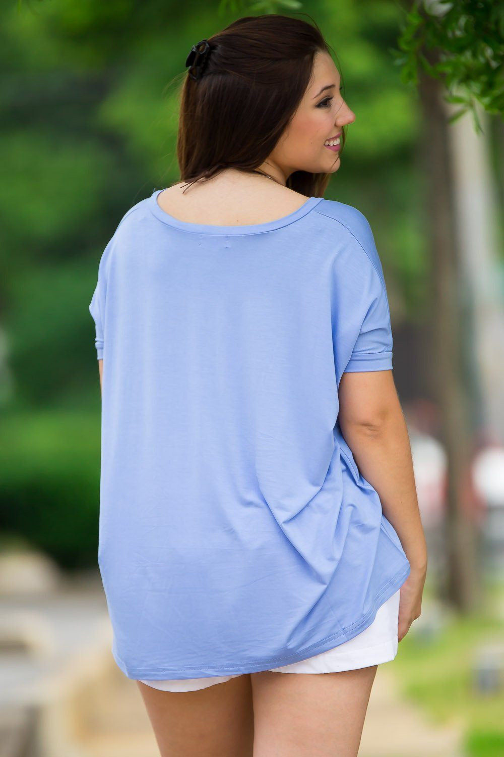 Short Sleeve V-Neck Piko Top - Serenity - Piko Clothing - 2