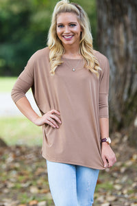 3/4 Sleeve Piko Top - Mocha - Piko Clothing