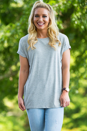 Short Sleeve Rolled Sleeve Piko Top - Heather Grey