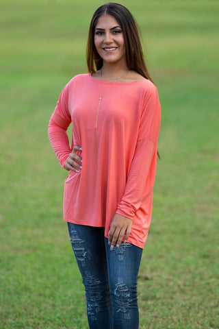 Long Sleeve Piko Top - Dark Peach - Piko Clothing
