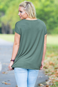 Short Sleeve Rolled Sleeve V-Neck Piko Top - Army - Piko Clothing