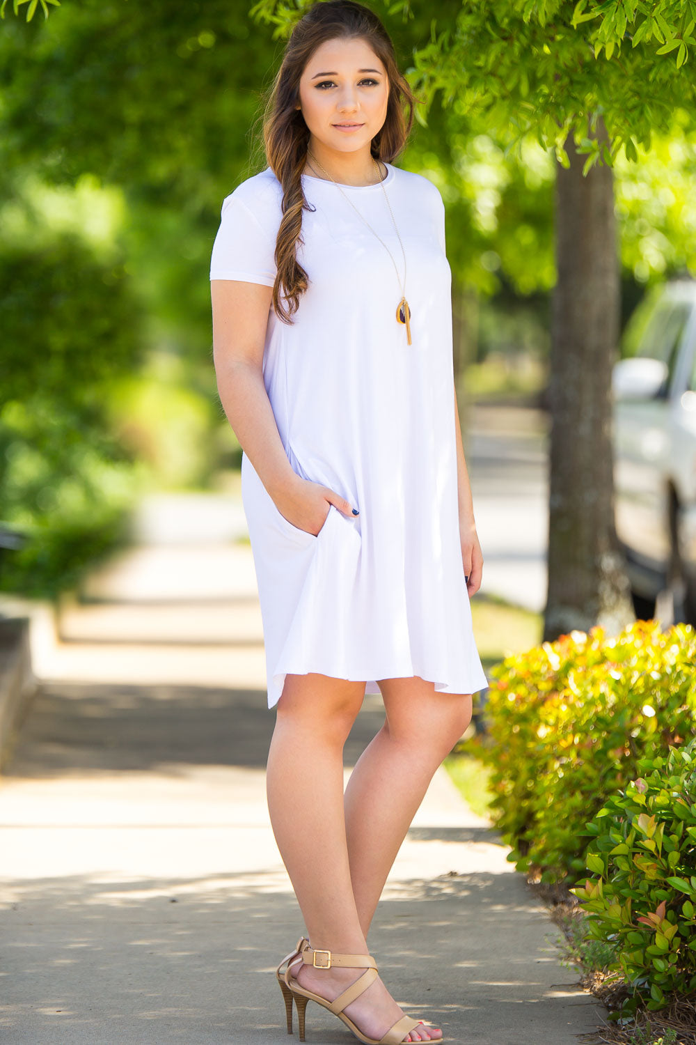 Piko Short Sleeve Swing Dress - White