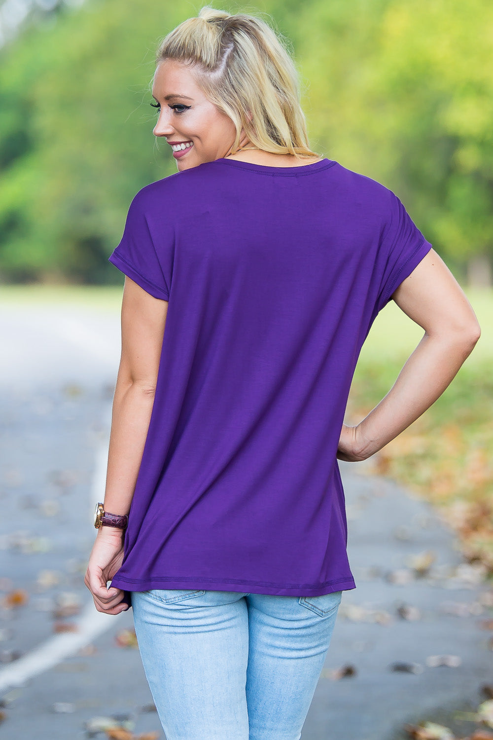 Short Sleeve Rolled Sleeve Piko Top - Dark Purple - Piko Clothing