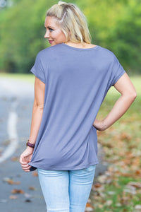 Short Sleeve Rolled Sleeve Piko Top - Charcoal